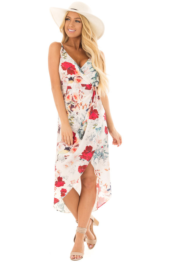 Ivory Floral Print Wrap Style Hi Low Dress front full body