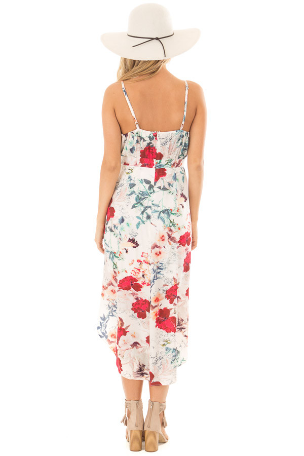 Ivory Floral Print Wrap Style Hi Low Dress back full body