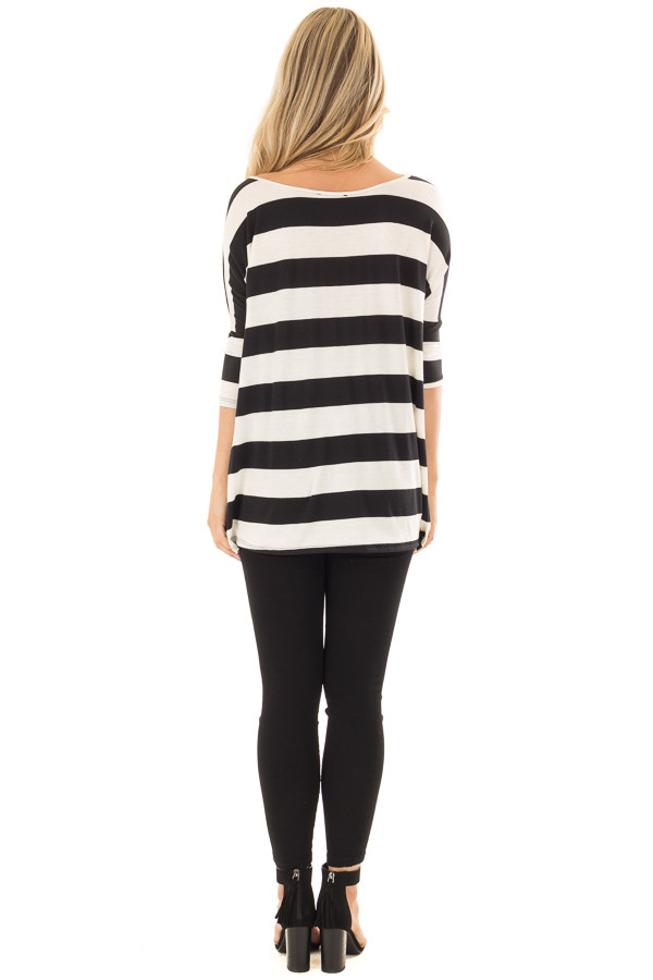 Off White and Black Striped Oversized Top back full body