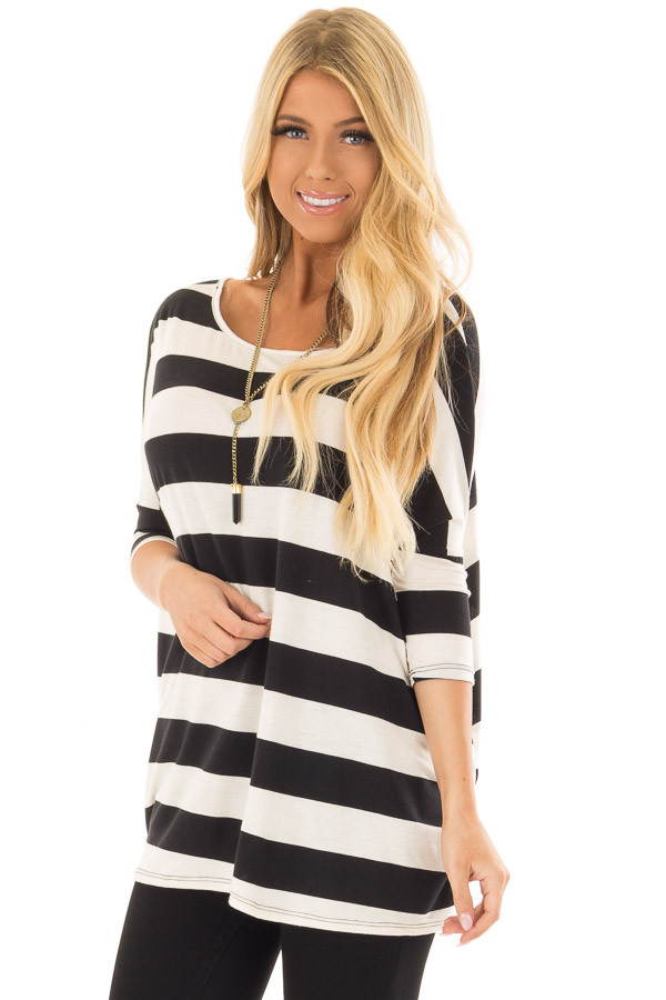 Off White and Black Striped Oversized Top front closeup