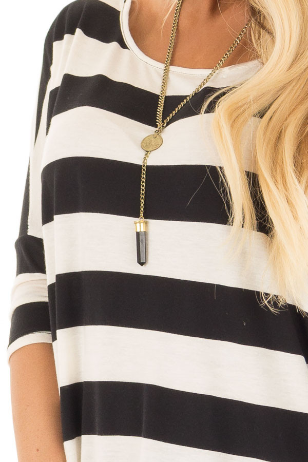Off White and Black Striped Oversized Top front detail
