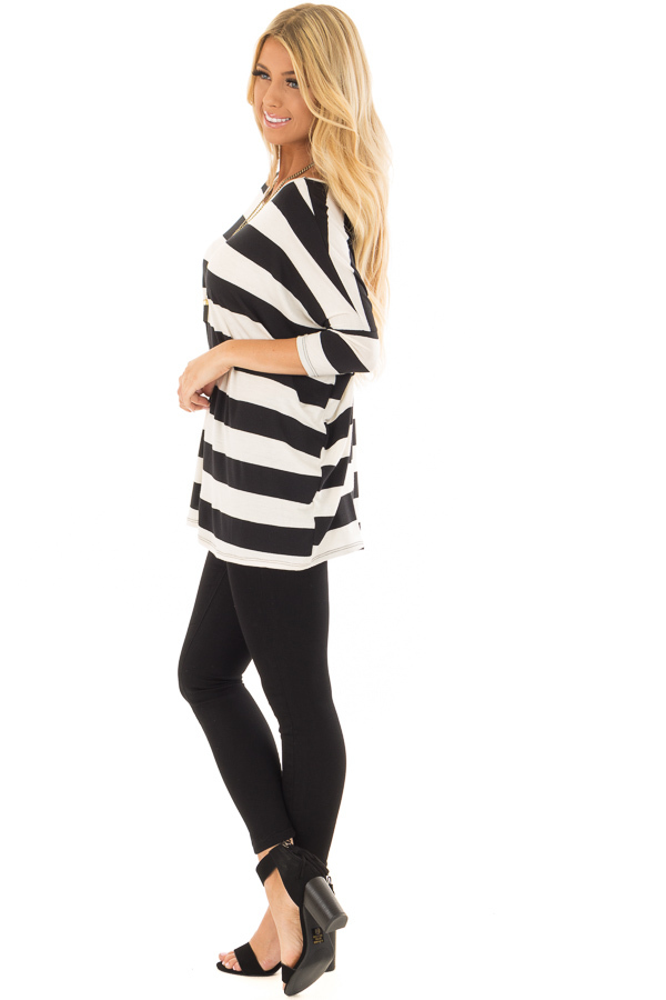 Off White and Black Striped Oversized Top side full body