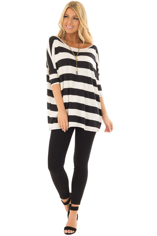 Off White and Black Striped Oversized Top front full body