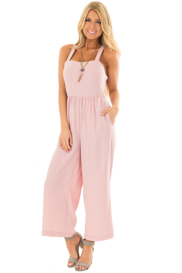 Blush Sleeveless Jumpsuit with Side Pockets front full body