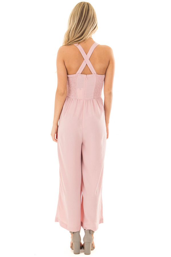 Blush Sleeveless Jumpsuit with Side Pockets back full body