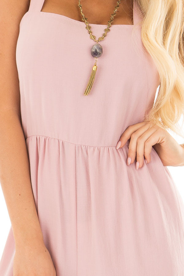 Blush Sleeveless Jumpsuit with Side Pockets front detail