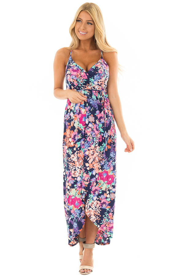 Navy Floral Print Wrap Style Hi Low Dress front full body