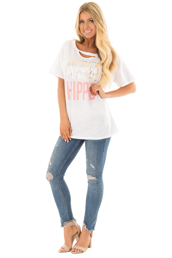 Off White 'Beach Hippie' Top with Chest Cutout front full body