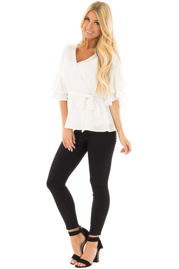 Off White Ruffle Half Sleeve Wrap Top with Waist Tie front full body