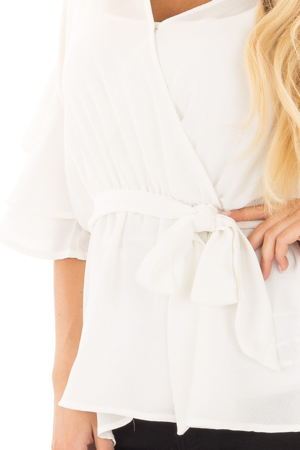 Off White Ruffle Half Sleeve Wrap Top with Waist Tie front detail