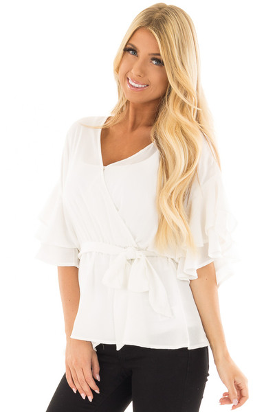 Off White Ruffle Half Sleeve Wrap Top with Waist Tie front closeup