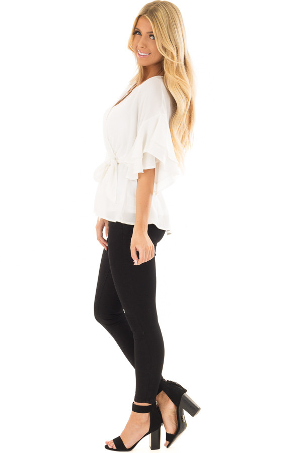 Off White Ruffle Half Sleeve Wrap Top with Waist Tie side full body