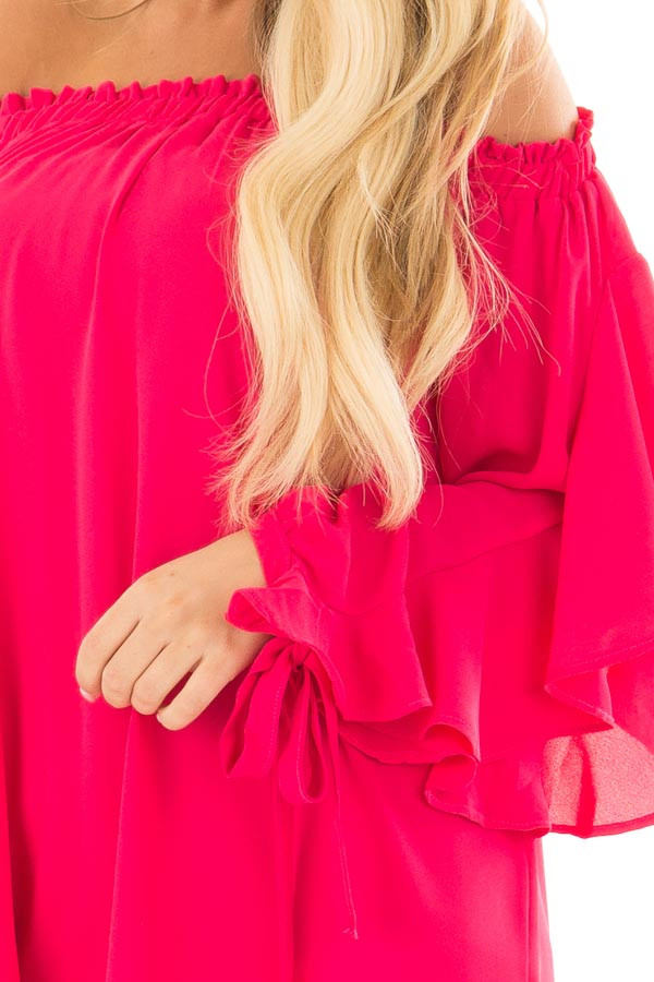 Cherry Pink Off the Shoulder Top with Ruffle Open Sleeves front detail