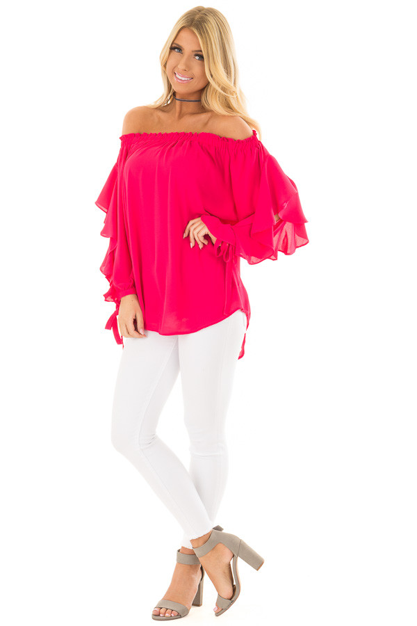 Cherry Pink Off the Shoulder Top with Ruffle Open Sleeves front full body