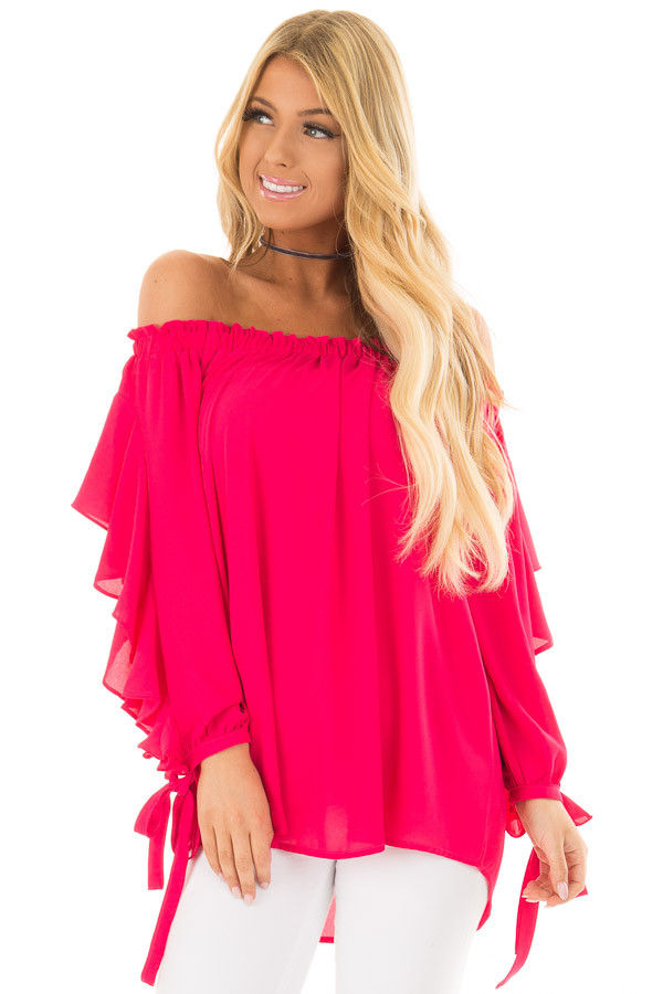 Cherry Pink Off the Shoulder Top with Ruffle Open Sleeves front closeup