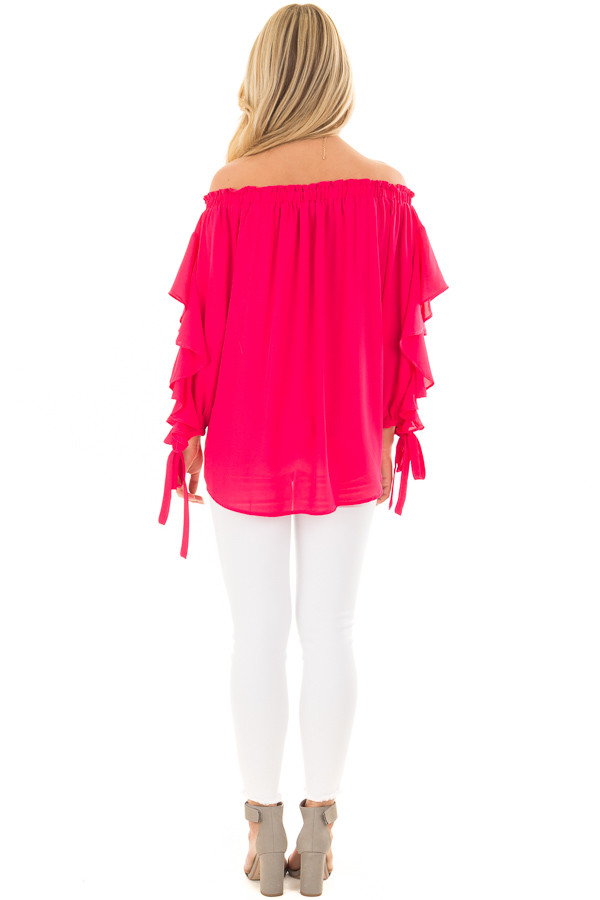 Cherry Pink Off the Shoulder Top with Ruffle Open Sleeves back full body