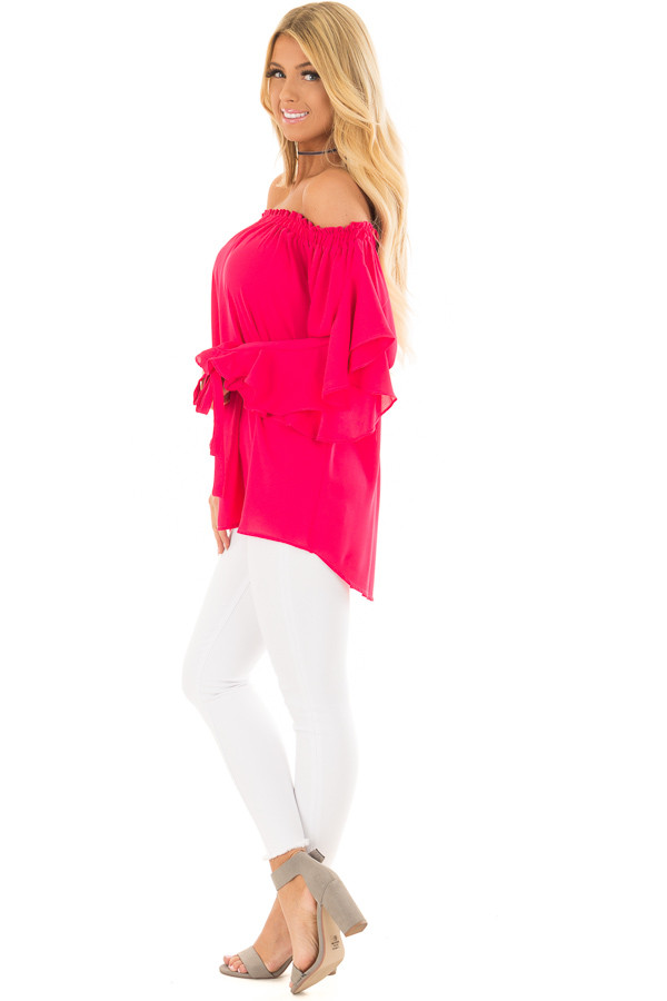 Cherry Pink Off the Shoulder Top with Ruffle Open Sleeves side full body