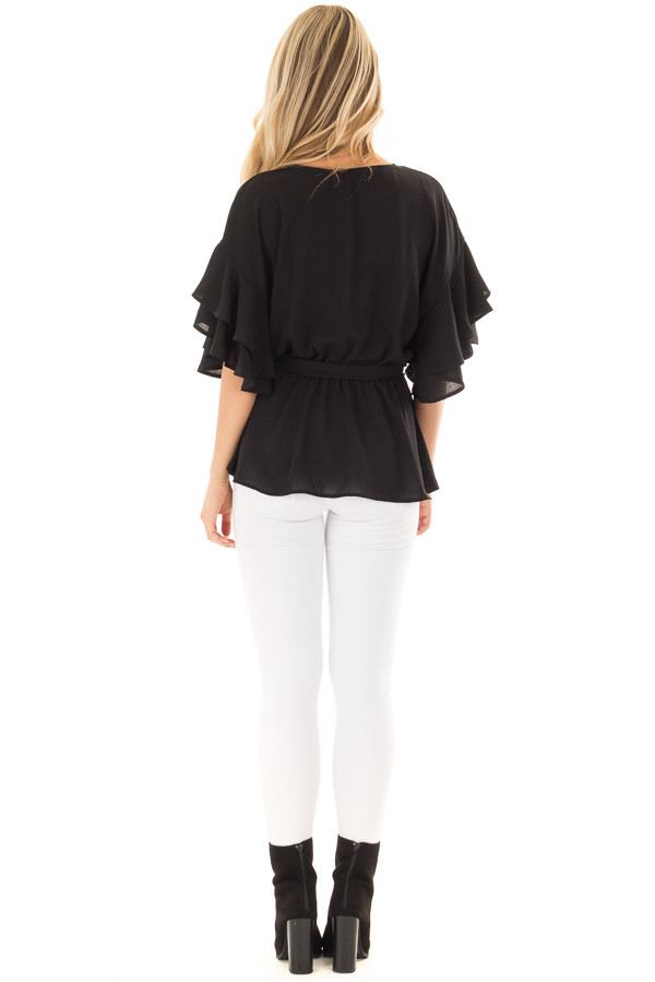Black Ruffle Half Sleeve Wrap Top with Waist Tie back full body