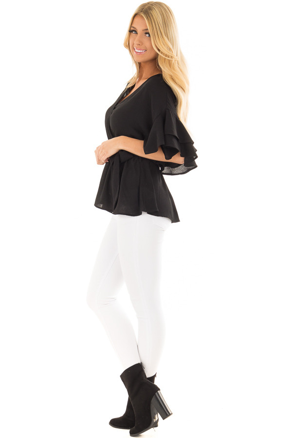 Black Ruffle Half Sleeve Wrap Top with Waist Tie side full body