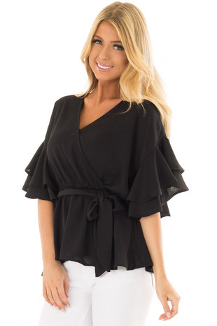 Black Ruffle Half Sleeve Wrap Top with Waist Tie front closeup