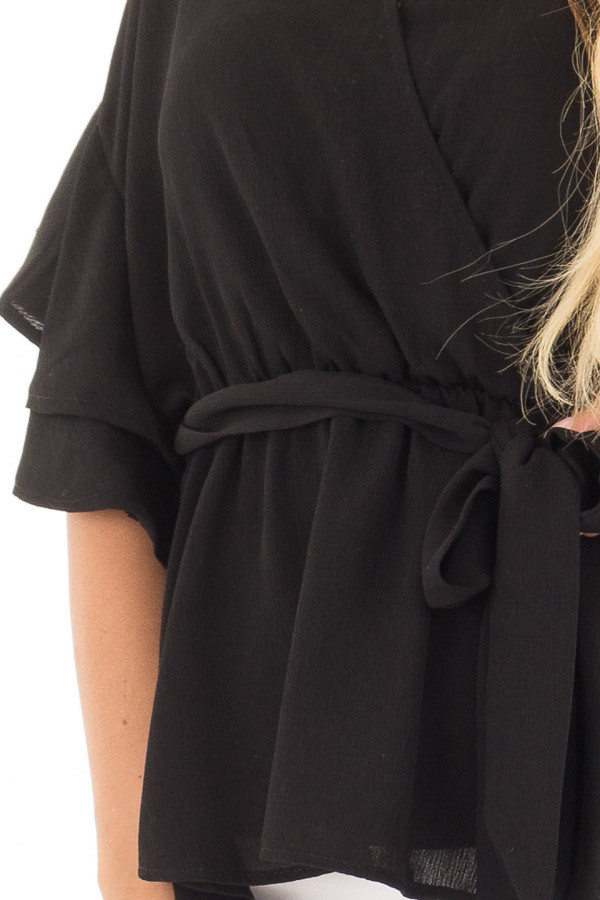 Black Ruffle Half Sleeve Wrap Top with Waist Tie front detail