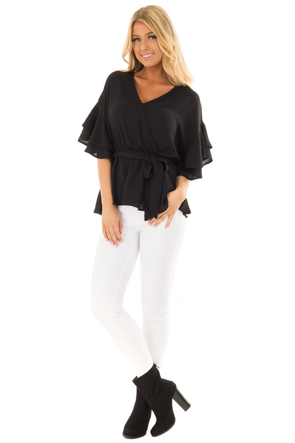 Black Ruffle Half Sleeve Wrap Top with Waist Tie front full body
