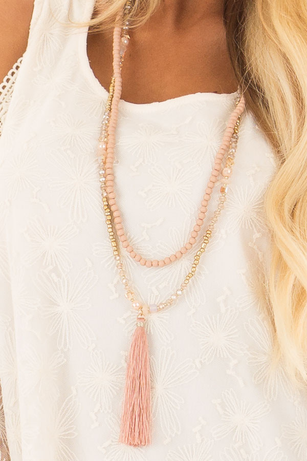 Rose Beaded Layered Necklace with Tassel Pendant detail