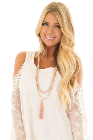 Rose Beaded Layered Necklace with Tassel Pendant front