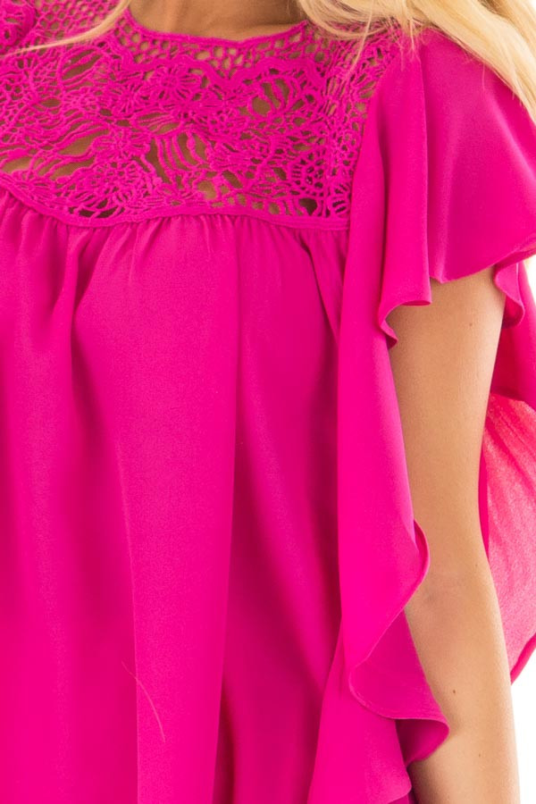 Fuchsia Ruffle Sleeve Blouse with Lace Yoke Detail front detail