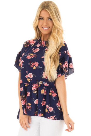 Navy Floral Print Blouse with Ruffle Detail front closeup