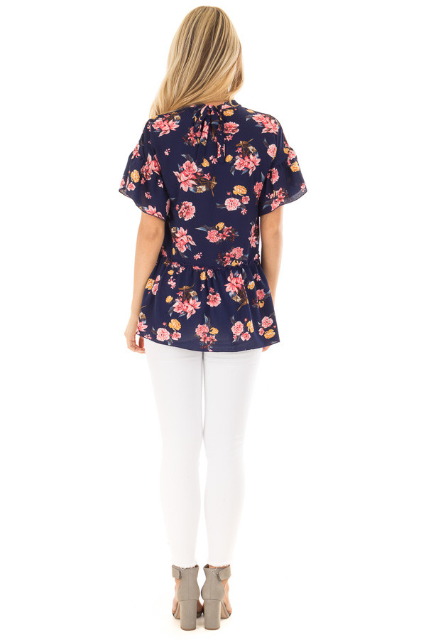 Navy Floral Print Blouse with Ruffle Detail back full body