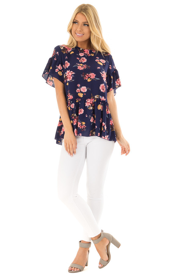 Navy Floral Print Blouse with Ruffle Detail front full body
