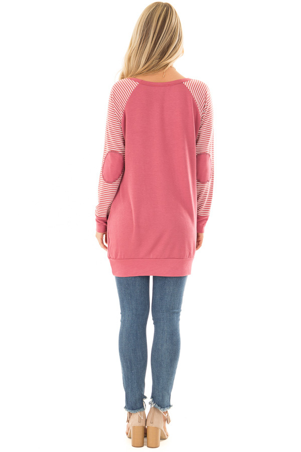 Berry Raglan Top with Stripe Detail and Elbow Patches full body back