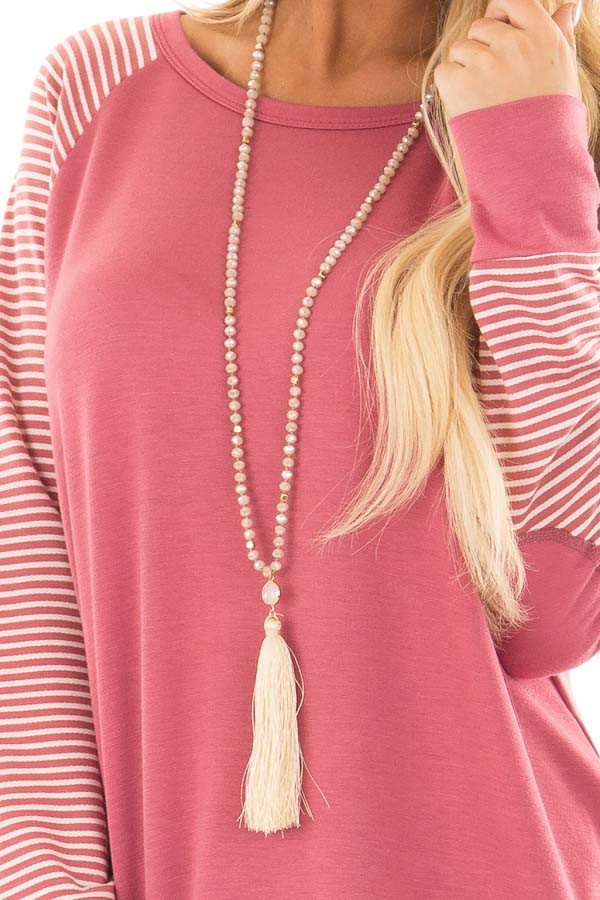 Berry Raglan Top with Stripe Detail and Elbow Patches detail