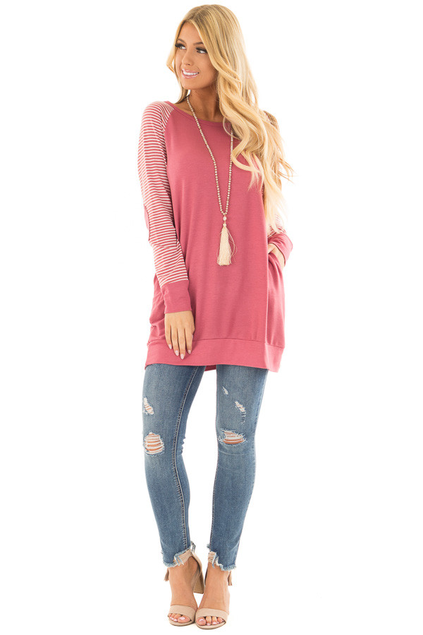 Berry Raglan Top with Stripe Detail and Elbow Patches front full body