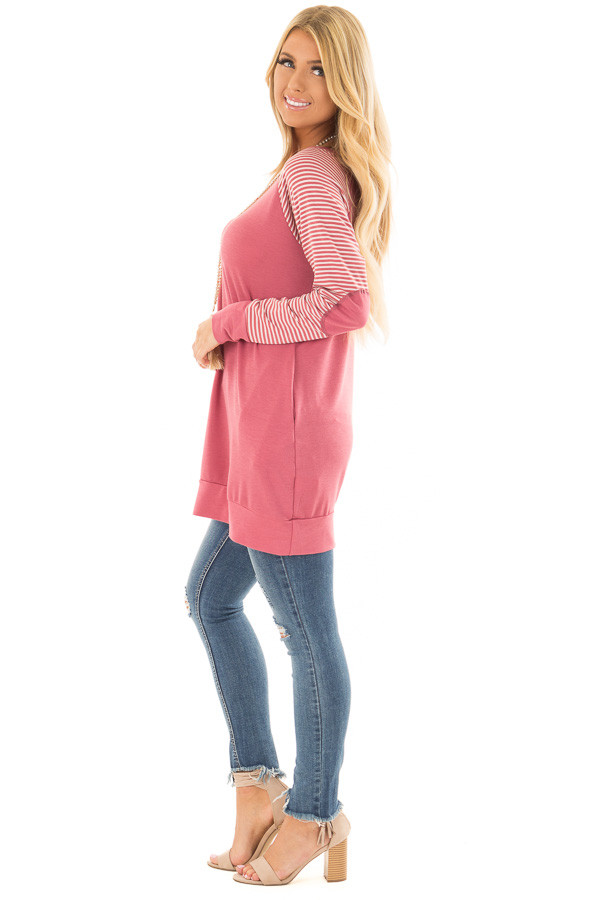 Berry Raglan Top with Stripe Detail and Elbow Patches full body side