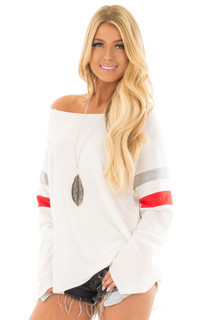 White Boat Neck Top with Striped Wide Sleeves front close up
