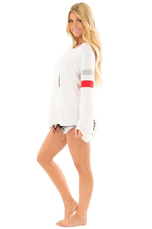 White Boat Neck Top with Striped Wide Sleeves full body side