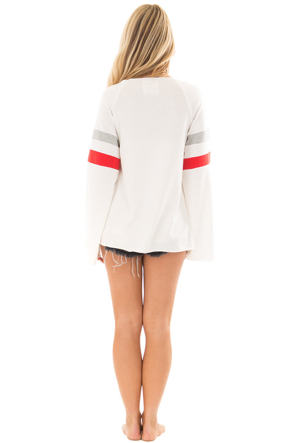 White Boat Neck Top with Striped Wide Sleeves full body back