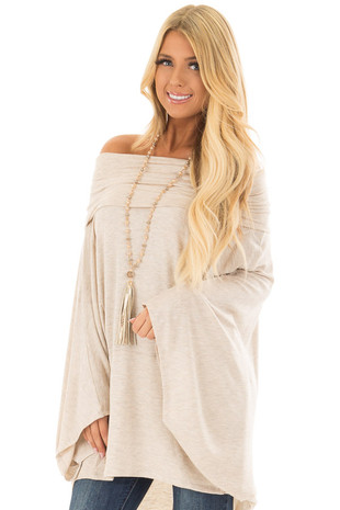 Oatmeal Fold Over Off the Shoulder Poncho Style Top front close up