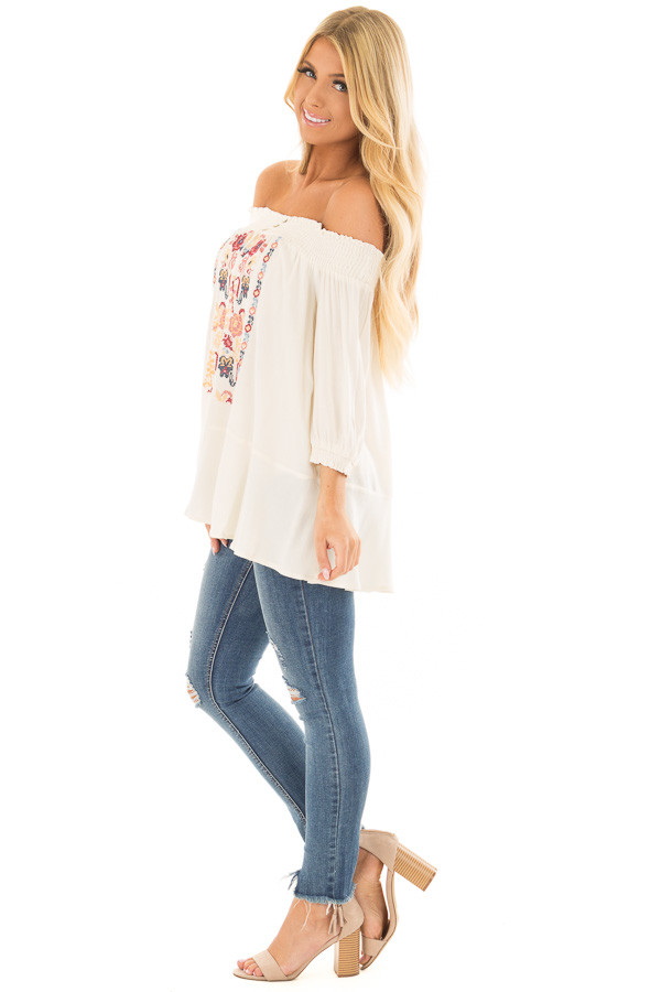 Cream Off the Shoulder Top with Embroidery Detail side full body