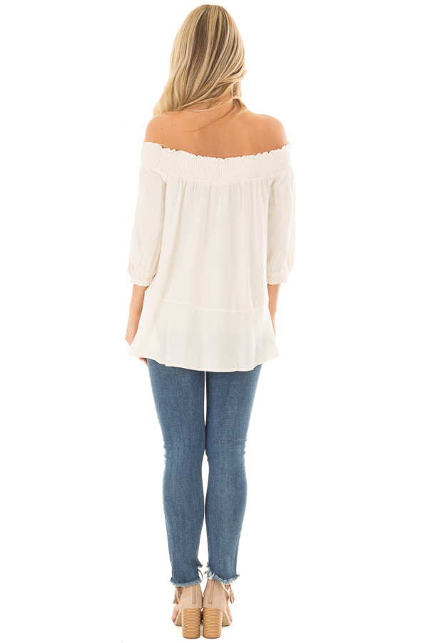 Cream Off the Shoulder Top with Embroidery Detail back full body