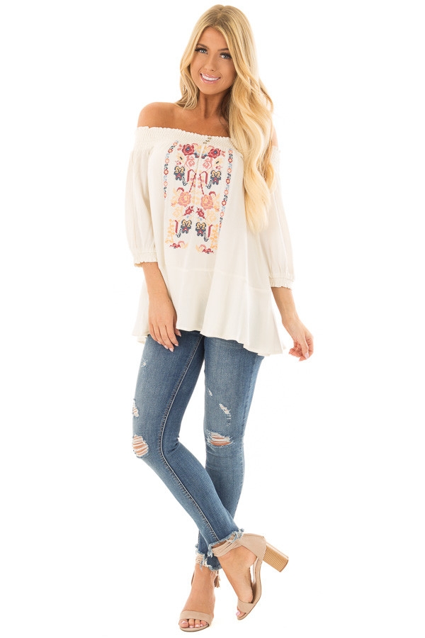 Cream Off the Shoulder Top with Embroidery Detail front full body