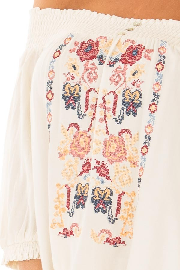 Cream Off the Shoulder Top with Embroidery Detail detail