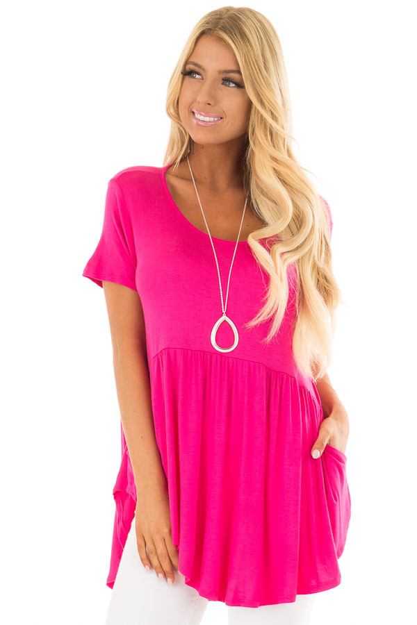 Fuschia Hi Low Babydoll Top with Pockets front close up