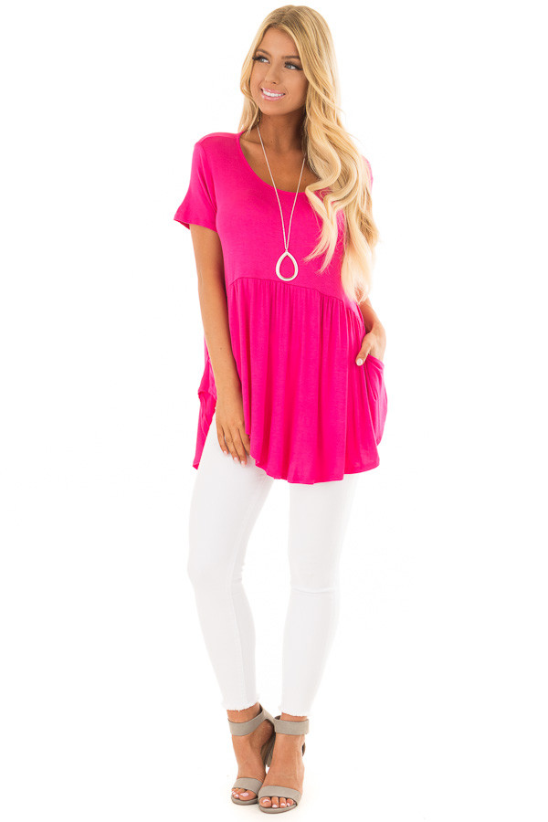 Fuschia Hi Low Babydoll Top with Pockets front full body
