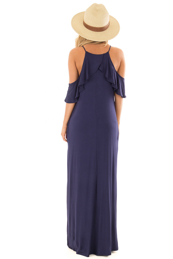 Navy Cold Shoulder and Ruffle Detail Maxi Dress back full body