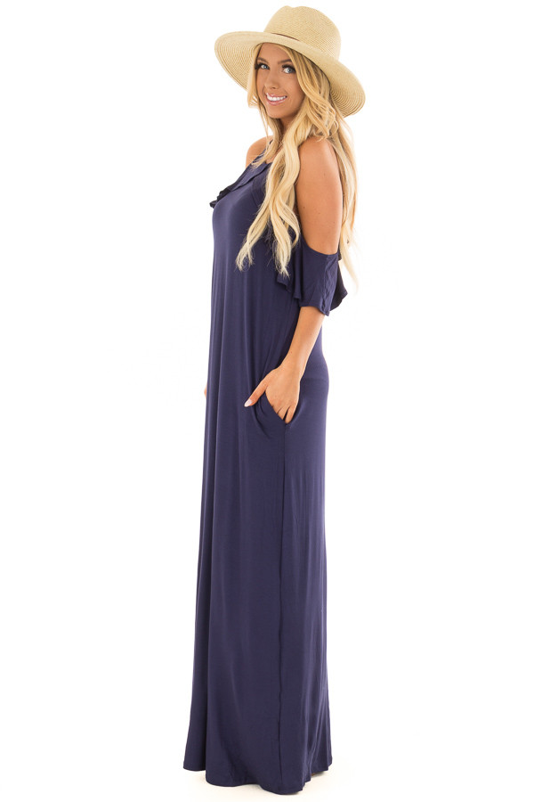 Navy Cold Shoulder and Ruffle Detail Maxi Dress side full body