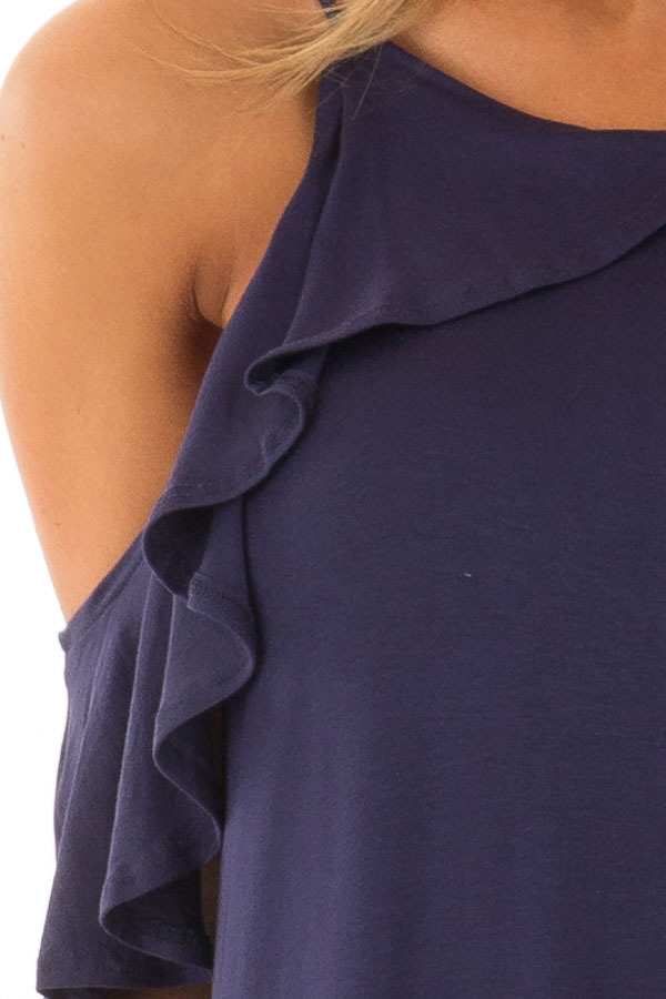 Navy Cold Shoulder and Ruffle Detail Maxi Dress front detail
