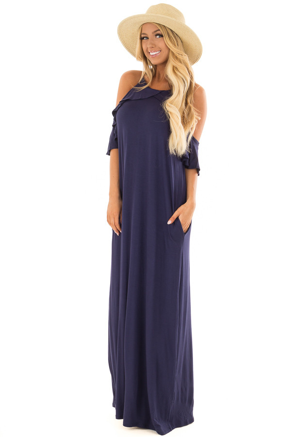 Navy Cold Shoulder and Ruffle Detail Maxi Dress front full body